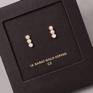 14K Gold Dainty CZ Crystal Linked Stud Earrings